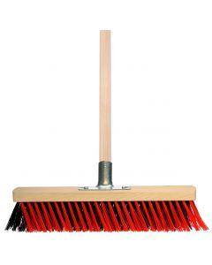 Besen rot/schwarz mit schrägen Borsten 400 mm